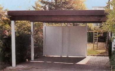 Einfache Carports bestehen aus 4 Pfosten und einem Dach.